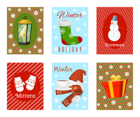 Winter holiday time set of banners, cards vector illustration. Nature landscape with Christmas tree, snowmen lantern hat scarf present, mittens, socks. Happy New Year greetings. Winter.