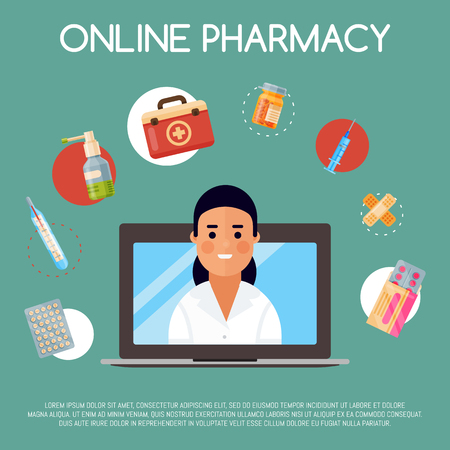 Medication online store banner vector illustration. Internet shopping. Female chemist selling drugs. Medicine, pharmacy, hospital set of drugs with labels. Medication, pharmaceutics concept. Çizim