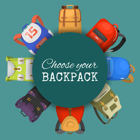 Colored school backpacks set. Choose your backpack banner, poster. Education and study back to school, schoolbag luggage, rucksack vector illustration. Fashionable bags for kids and adults. Ilustração