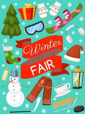 Bannière de temps de vacances d'hiver, illustration vectorielle de carte. Paysage naturel avec arbre de Noël, bonhommes de neige, lanterne, luge foulard chapeau présent mitaines chaussettes, snowboard. Salutations de bonne année.