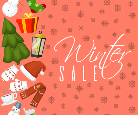 Winter sale banner vector illustration. Nature landscape with Christmas tree, snowmen, sock, mittens, cup of hot drink hat scarf earmuffsear. Happy New Year. Snowy weather. Holidays, weekends.