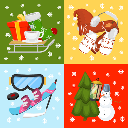 Winter holiday time banner, card vector illustration. Nature landscape with Christmas tree, snowmen, lantern hat scarf present, mittens, socks, snowboard. Happy New Year greetings. Winter. Ilustração
