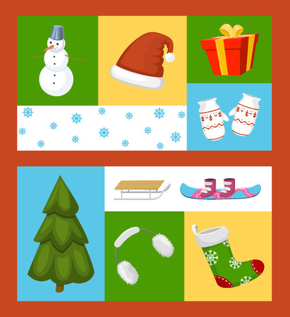 Winter holiday time set of banners vector illustration. Nature landscape with Christmas tree, snowmen lantern hat scarf present, mittens, socks, snowboard. Happy New Year greetings. Winter. Ilustração