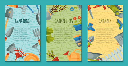 Garden tools set of posters or cards vector illustration. Equipment as wheelbarrow, trowel fork hoe, boots, gloves, shovel and lawn mower, watering can. Plant such as flower and tree seedlings. Ilustração