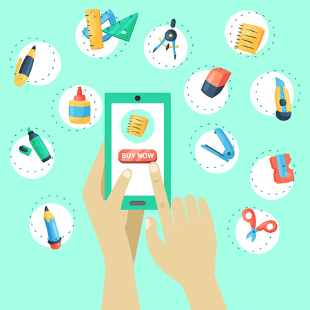 Online shop stationery banner vector illustration. Hand holding mobile phone with Internet store. Equipment for education or office work. Buying supplies as writing implements, eraser.