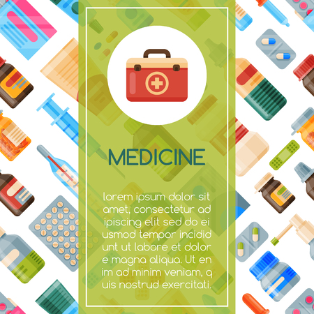 Medicine seamless pattern vector illustration. Medicine, pharmacy, hospital set of drugs with labels. Medication, pharmaceutics concept. Different medical pills and bottles.