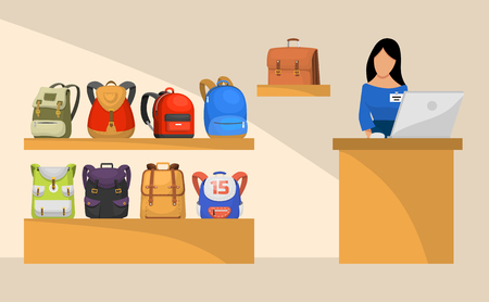 Shop with backpacks or rucksacks of various types and colors banner, poster. Special offers, deals and discounts. Vector illustration for advertisement of bags shop, store. Shop assistant. Ilustração