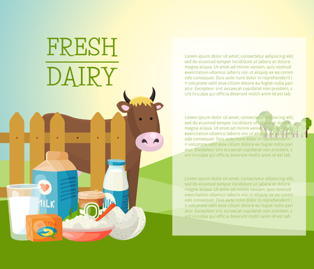Fresh dairy products banner, poster vector illustration. Organic, quality food. Great taste and nutritional value. Milk cheese yogurt cottage cheese sour cream butter. artoon cow behind fence.