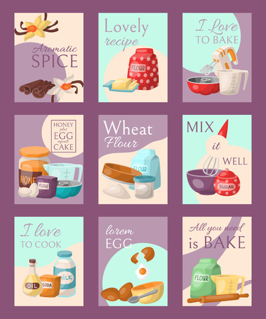 Baking set of cards vector illustration. Aromatic spice, lovely recipe, I love to bake or cook, honey plus eggs equals cake, wheat flour, mix it well, lorem egg, all you need is bake. Utensils, food.