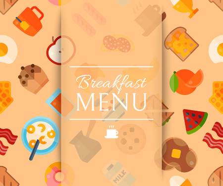 Breakfast menu seanless pattern vector illustration. Healthy start day. Eating in the morning. Food collection with apple, orange fruits, sandwich toast, boiled and fried eggs with bacon sausages. Illustration