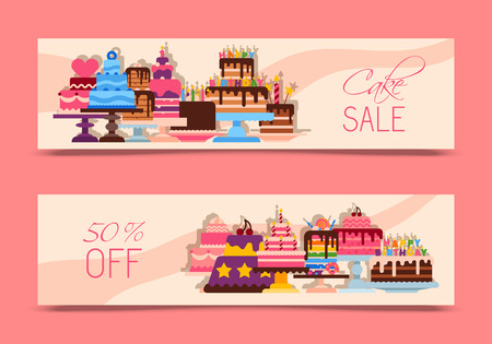 Cake sale banners vector illustration. Chocolate and fruity desserts for sweet shop with fresh and tasty cupcakes, cakes, pudding, biscuits, whipped cream, glaze and sprinkles. Discounts.