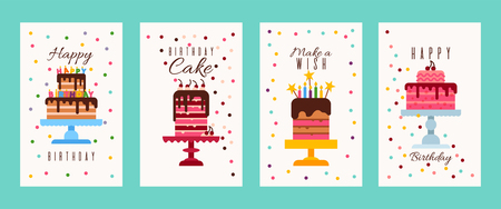 Cake birthday banners or birthday invitation cards vector illustration. Happy birthday. Make a wish. Birthday cake. Flyers for bakery or sweets shop. Big cartoon cakes with burning candles. Иллюстрация