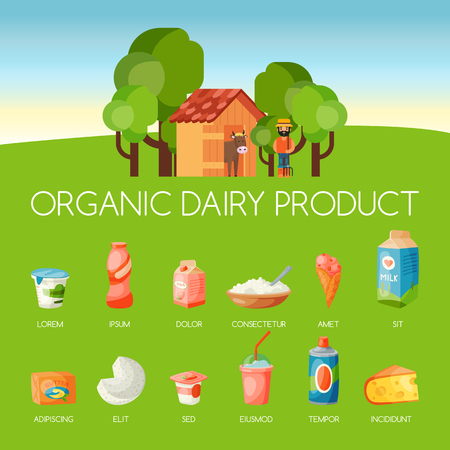 Organic dairy products banner vector illustration. Cartoon farmer holding farm equipment near cow. Fresh, quality, organic food. Milk, cheese, yogurt, cottage cheese, sour cream.