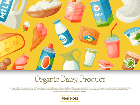 Dairy products or milk set vector illustration. Fresh, quality, organic food seamless pattern. Great taste and nutritional value. Milk, cheese, yogurt, cottage cheese, sour cream.