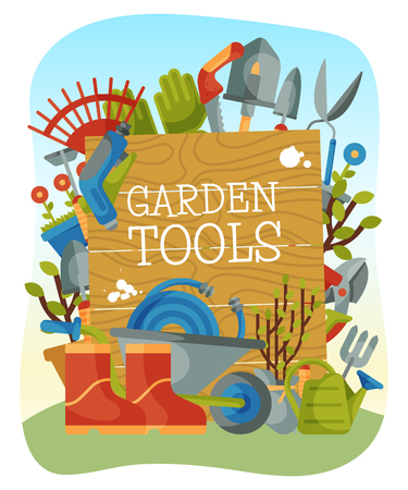 Garden tools banner, poster vector illustration. Supplies for gardening such as wheelbarrow, trowel, fork hoe, boots gloves shovels and spades lawn mower watering can. Farmers equipment.