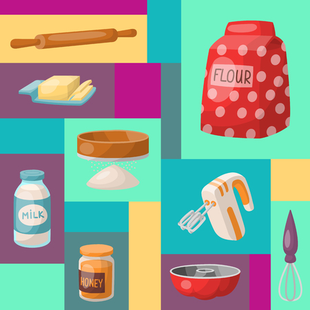 Baking cartoon tools and food mosaic seamless pattern. Kitchen utensils. Baking ingredients sugar, vanilla, flour, oil, butter, baking soda, baking powder, honey, eggs Cooking vector illustration Standard-Bild - 124746595