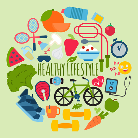 Healthy lifestyle concept banner vector illustration. Poster with sports equipment and healthy food. Diet and sport. Idea of everyday activities such as fitness, cycling, running, jumping, badminton. Ilustração