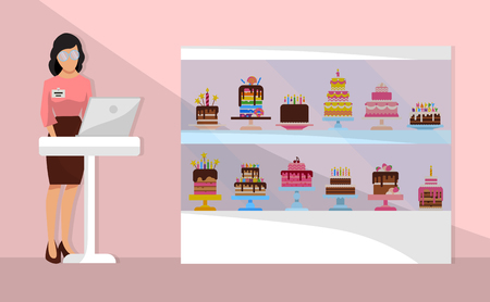 Sweet shop cartoon composition with shop assistant with laptop near counter and showcase with cakes vector illustration. Chocolate and fruity desserts cupcakes, cake, pudding, biscuits banner, poster.
