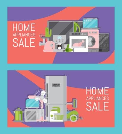 Home appliances sale banners flat illustration vector. Modern technology house machine equipment. Domestic appliance automation device. Creative apartment household elements flyer. Imagens - 124649475