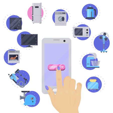 Home appliances buying online on phone flat illustration vector. Modern technology house machine equipment. Domestic appliance automation device. Creative order household elements banner store.