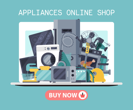 Home appliances online shop poster poster flat illustration vector. Modern technology house machine equipment. Domestic appliance automation device. Creative apartment household elements banner. Imagens - 124649477