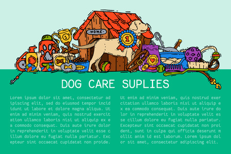 Pet care supply funny colorful banner petsshop advertising bookmark with dog kennel vector illustration. Animal accessory clinic canine carrier poster. Puppy protection love tools. Ilustração