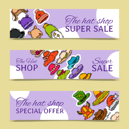 Hats shop market store banner vector illustration. Different clothing sale style cap cloth accessories poster. Seasonal headdress protection handmade advertisemen card. Modern head wear accessory