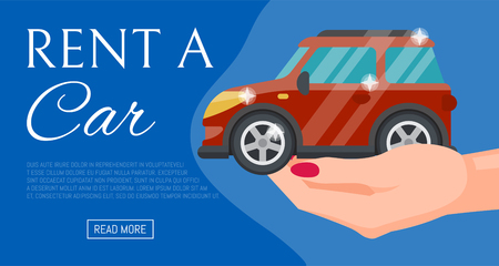 Buying or renting new or used red car banner vector illustration. Car in buyer hand. Rent a car. Modern flat style selling transport flyer. Buying auto rental dealer hand. Travel vehicle service concept. Illustration