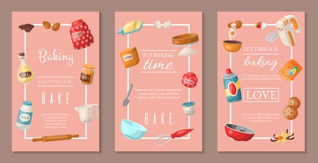 Time for baking set of banners. Baking ingredients and kitchen tools and utensils. Collection of realistic cartoon vector illustrations with cooking related objects. Honey, flour, soda.