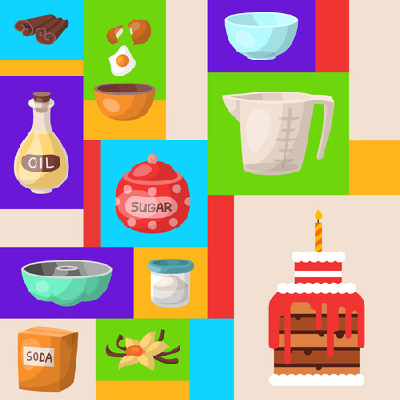 Baking cartoon tools round pattern. Kitchen utensils. Baking ingredients set sugar, vanilla, flour, oil, butter, baking soda, birthday cake with candle, eggs. Cooking vector illustration