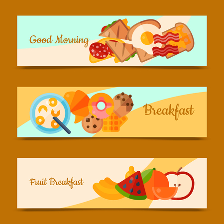 Breakfast brunch concept set of banners vector illustration. Healthy start day. Eating in the morning. Good morning. Fruit breakfast. Food collection with apple, sandwich toast and fried eggs bacon. Stock Vector - 124649484