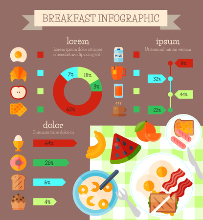 Breakfast infographic concept banner vector illustration. Percentage of food that people eat in morning. Pastry, fruit, drinks. Egg, bacon, sausage, sandwich, coffee, tea banana orange apple