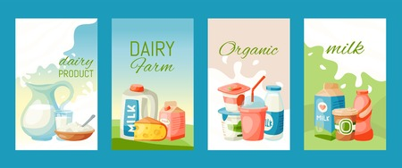 Dairy products or milk set vector illustration. Fresh, quality, organic food cards or banners. Great taste and nutritional value. Milk, cheese, yogurt, cottage cheese, sour cream, milk shake, cream.