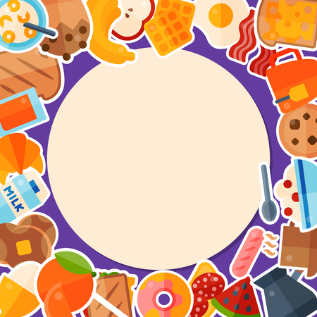 Breakfast round template banner vector illustration. Morning food. Eating in the morning. Apple, orange fruits, sandwich toast, boiled and fried eggs with bacon sausages, juice.
