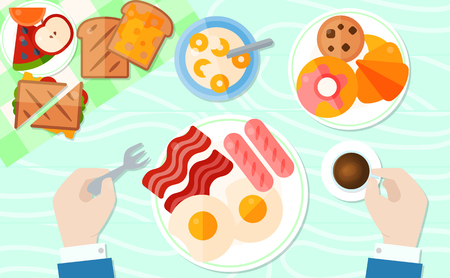 Breakfast table banner or poster vector illustration. Man sitting at table and having breakfast. Plate with friead eegs, bacon and sausage, cup of coffee, bowl of flakes with milk. Apple, orrange. Vettoriali