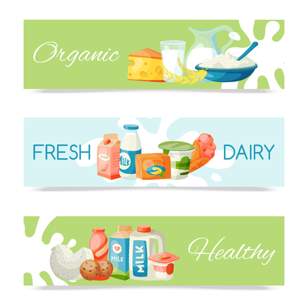 Dairy products or milk set vector illustration. Fresh, quality, organic food set of banners. Great taste and nutritional value. Milk, cheese, yogurt, cottage cheese, sour cream. 矢量图像