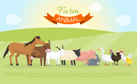 Farm domestic animals banner vector illustration. Collection of cute pet animal. Cartoon cow and horse, pig and goose, rabbit, hen, turkey, chick, goat, sheep on green lown.
