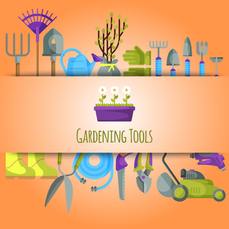 Gardening tools seamless pattern vector illustration. Equipment for gardening. Wheelbarrow, trowel, fork hoe, boots, gloves, shovels and spades, lawn mower, watering can. Flowers and trees seedlings Illustration