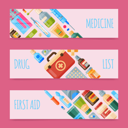 Medicine set of banners vector illustration. Medicine, pharmacy store, hospital set of drugs with labels. Medication, pharmaceutics concept. Medical pills and bottles. Drug list. Çizim