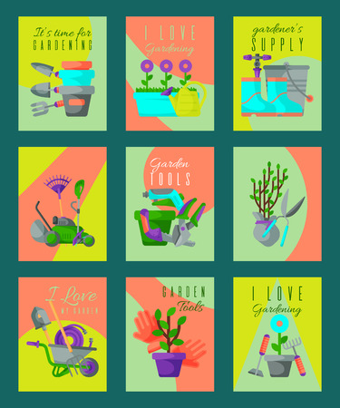 Garden tools card set vector illustration. It s time for gardening. Gardener supply. I love my garden. Wheelbarrow, trowel, fork hoe boots gloves shovels and spades lawn mower, watering can. Illustration