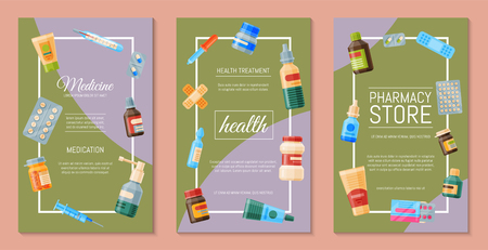 Medicine set of poster cards vector illustration. Medicine, pharmacy store, hospital set of drugs with labels. Medication, pharmaceutics concept. Different medical pills and bottles. Illustration