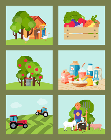 Farming set of cards vector illustration. Collection of cute pet animal. Farm domestic animals, vegetables, diary products, farmer with equipment. Trees with apples, tractor tilling the ground. Illustration