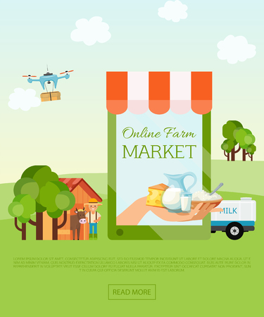Online farm market shop banner, poster vector illustration. Web page design template for farm fresh food, online food ordering, organic vegetable, diary, e-commerce. Concepts for website. Farmer with cow.