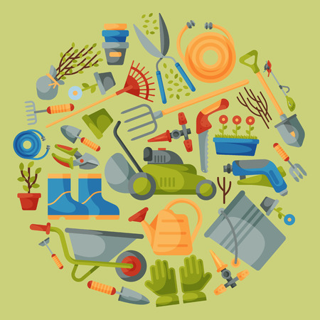Garden tools round pattern vector illustration. Equipment for gardening. Wheelbarrow, trowel fork hoe, boots, gloves, shovel and lawn mower, watering can. Plant such as flower and tree seedlings.