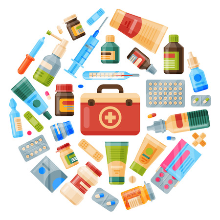 Medicine round pattern vector illustration. Medicine, pharmacy, hospital set of drugs with labels. Medication, pharmaceutics concept. Different medical pills and bottles.