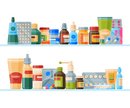 Farmaco su mensola banner illustrazione vettoriale. Medicina, farmacia, set ospedaliero di farmaci con etichette. Concetto di prodotti farmaceutici. Pillole mediche e bottiglie. Elenco dei farmaci.