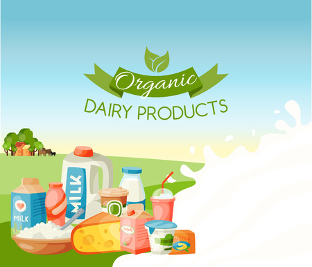 Organic dairy products vector illustration. Fresh, quality food banner, poster. Great taste and nutritional value. Milk cheese yogurt cottage cheese, sour cream, butter. Farm animals.