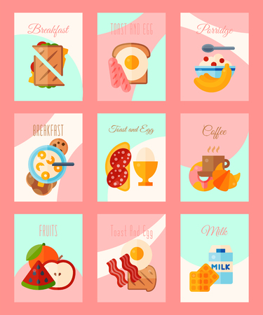 Breakfast concept set of cards or banners vector illustration. Healthy start day. Eating in the morning. Good morning. Fruit breakfast. Toast and egg. Coffee, porridge, fruits, milk. Brunch food. Stock Vector - 124649498
