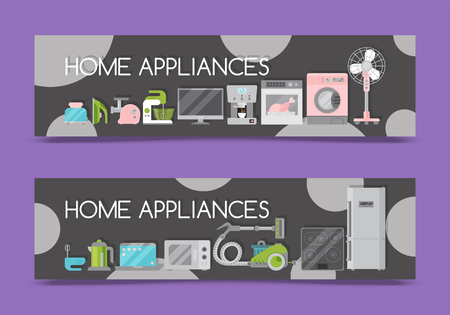 Home appliances sale banners flat illustration vector. Modern technology house machine equipment. Domestic appliance automation device. Creative apartment household elements flyer.