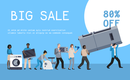 Home appliances sale poster flat illustration vector. Modern technology people buying house equipment. Domestic appliance automation device. Creative banner household buy. Imagens - 124598766